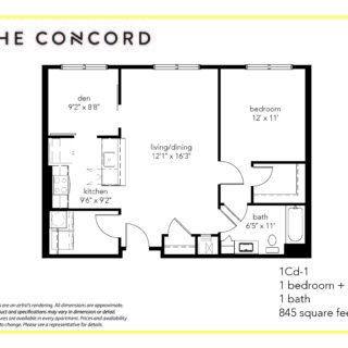 One bedroom and den floor plan at the concord apartments